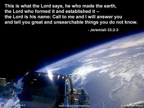 Inspirational illustration of Jeremiah 33:2-3