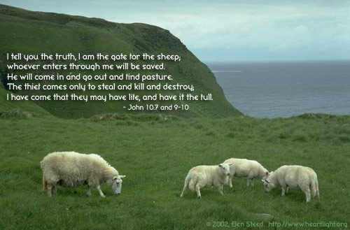 Inspirational illustration of John 10:7 and 9-10