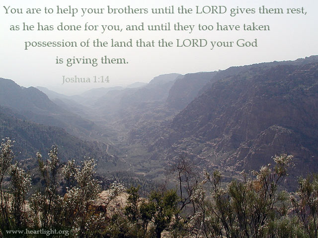 Inspirational illustration of Joshua 1:14-15