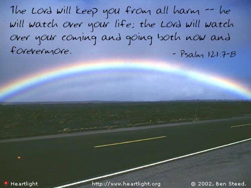 Inspirational illustration of Psalm 121:7-8
