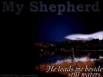 PowerPoint Background: Psalm 23:2 b - Dark