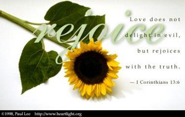 Illustration of the Bible Verse 1 Corinthians 13:6
