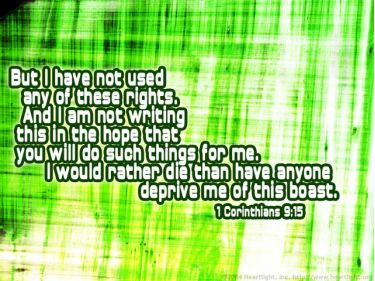 Illustration of the Bible Verse 1 Corinthians 9:15