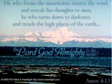 Illustration of the Bible Verse Amos 4:13