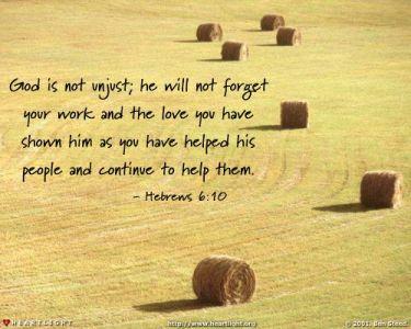 Illustration of the Bible Verse Hebrews 6:10
