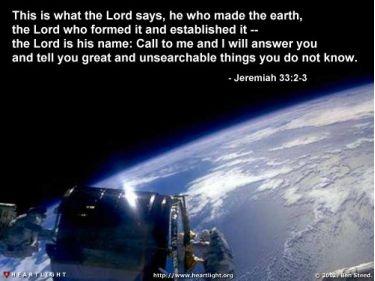 Illustration of the Bible Verse Jeremiah 33:2-3