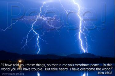 Illustration of the Bible Verse John 16:33 Lightning