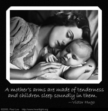 Illustration of the Bible Verse A mothers arms