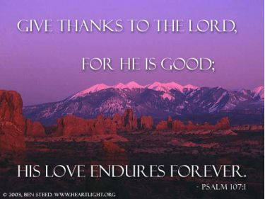 Illustration of the Bible Verse Psalm 107:1