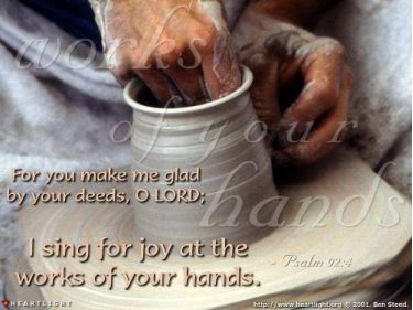 Illustration of the Bible Verse Psalm 92:4