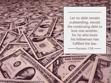 Illustration of the Bible Verse Romans 13:8