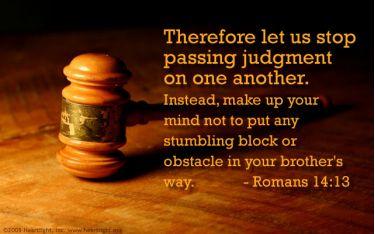 Illustration of the Bible Verse Romans 14:13