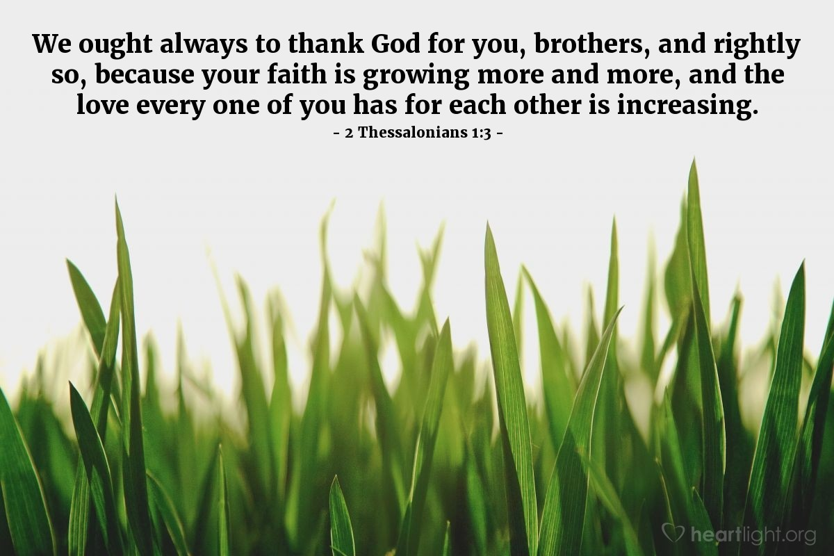 Inspirational illustration of 2 Thessalonians 1:3