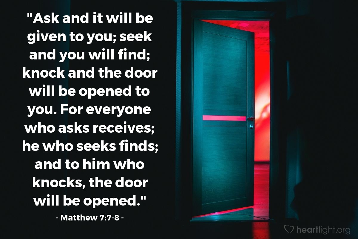 Inspirational illustration of Matthew 7:7-8