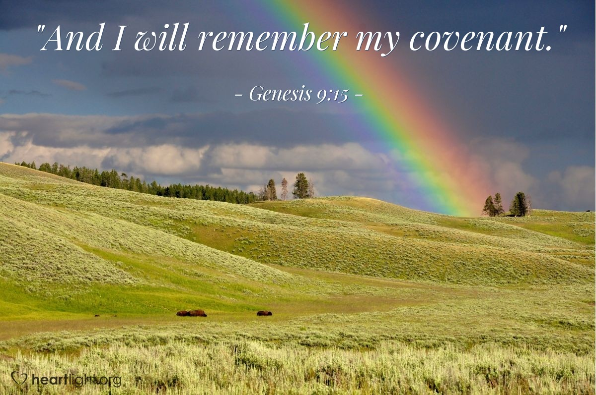 "Illustration of Genesis 9:15 — ""And I will remember my covenant."""