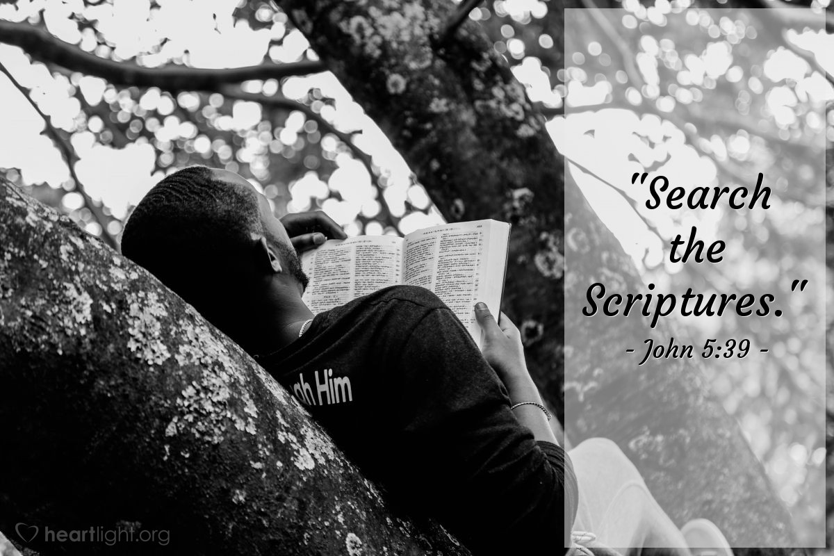 """Illustration of John 5:39 — """"Search the Scriptures."""""""