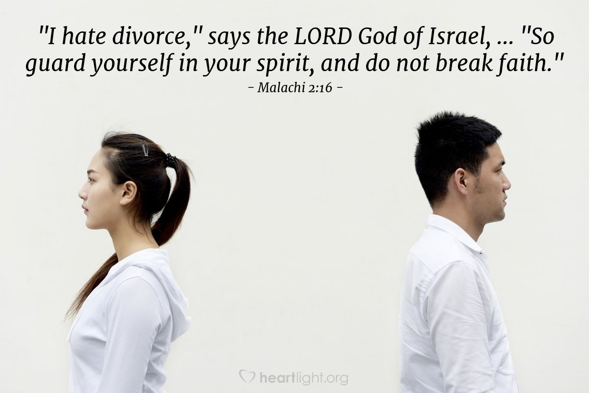 Inspirational illustration of Malachi 2:16