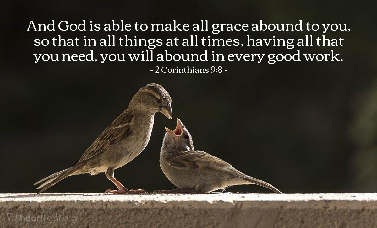 Inspirational illustration of 2 Corinthians 9:8