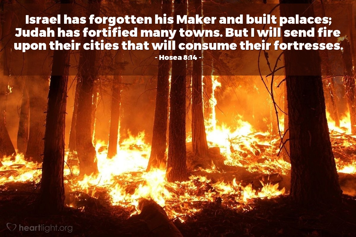Illustration of Hosea 8:14 — Israel has forgotten his Maker and built palaces; Judah has fortified many towns. But I will send fire upon their cities that will consume their fortresses.
