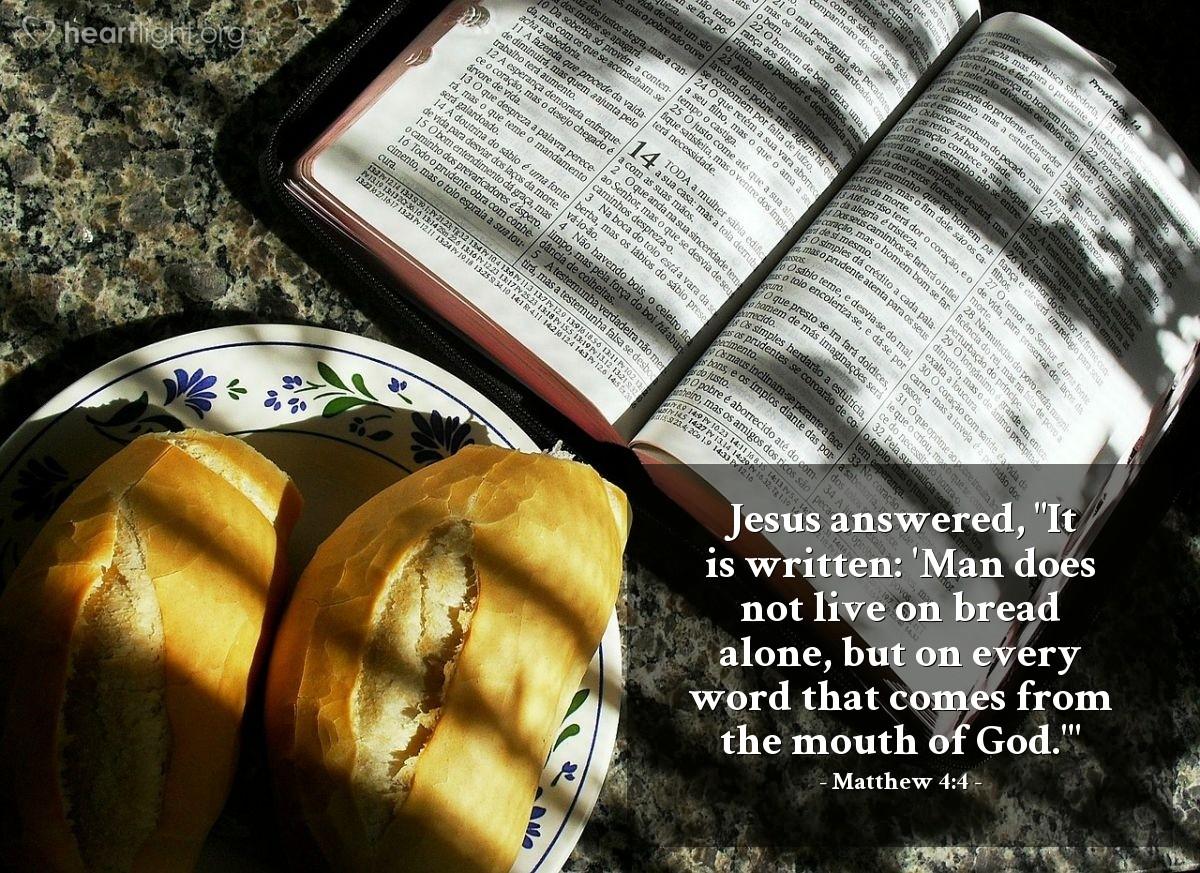 Inspirational illustration of Matthew 4:4