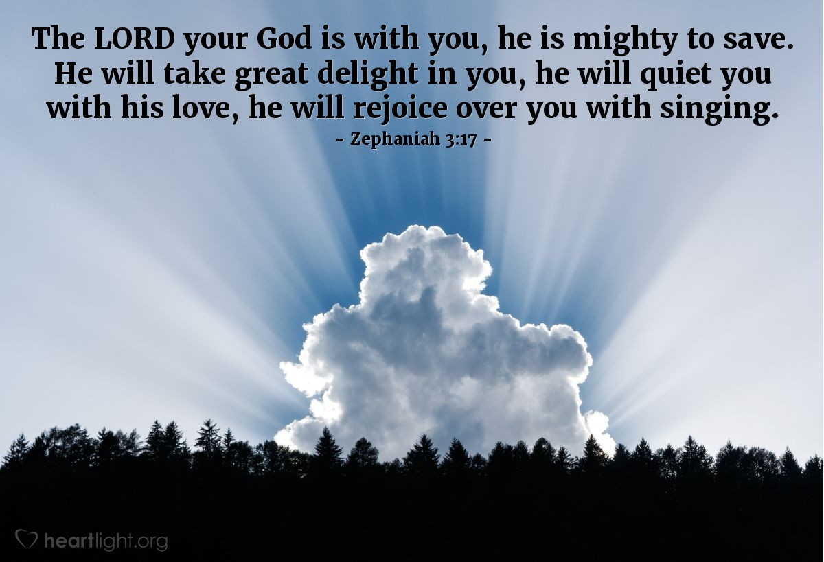 Inspirational illustration of Zephaniah 3:17
