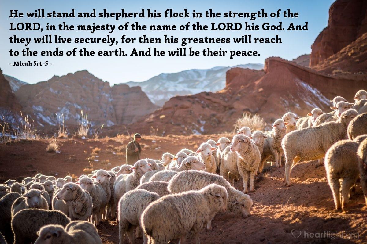 Inspirational illustration of Micah 5:4-5