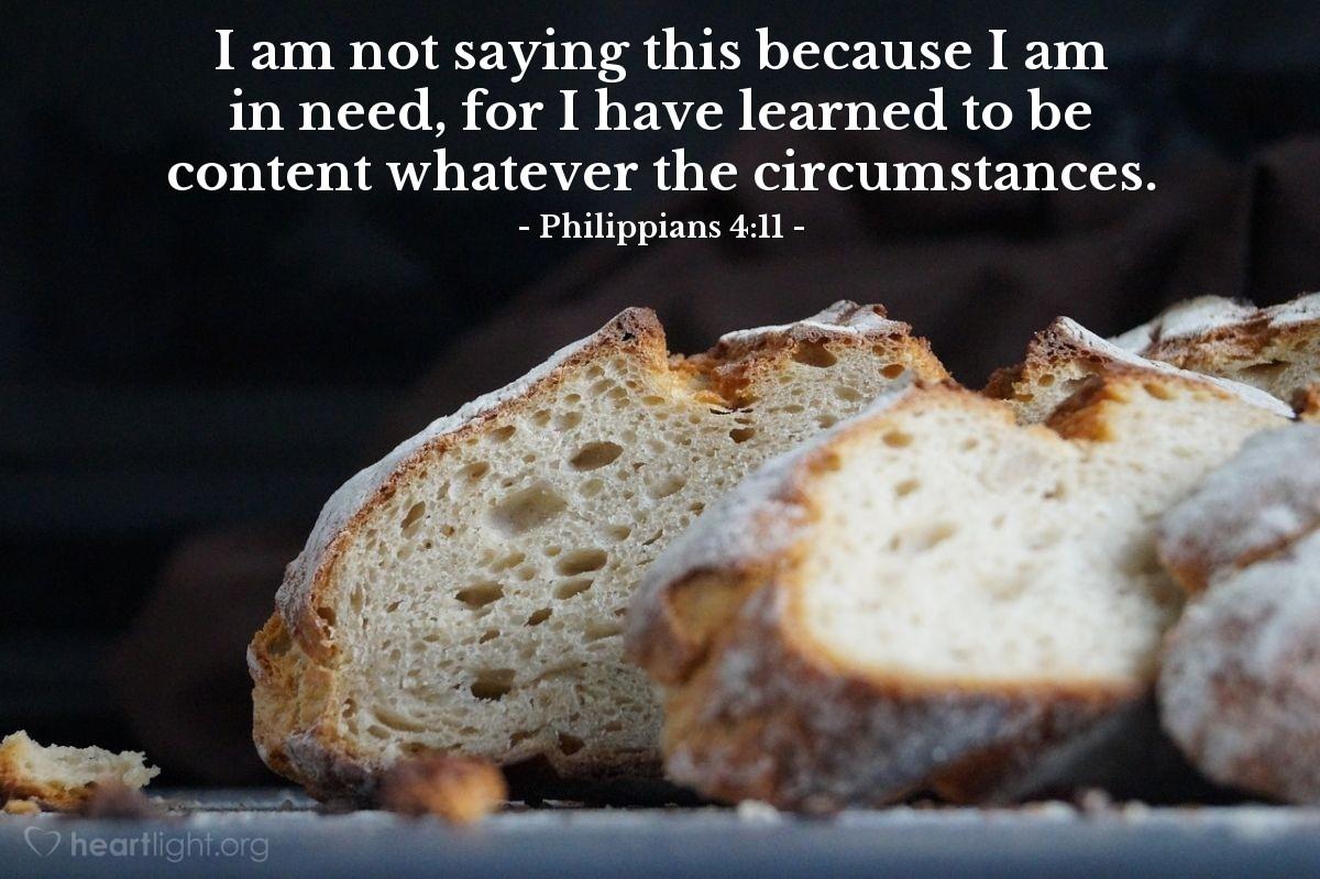 Inspirational illustration of Philippians 4:11