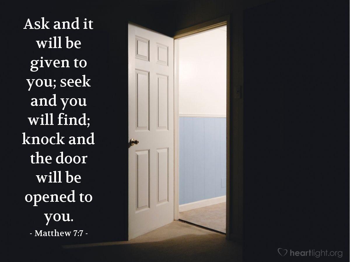 Inspirational illustration of Matthew 7:7