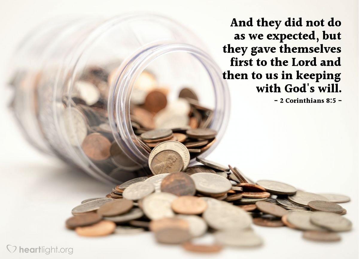 Inspirational illustration of 2 Corinthians 8:5