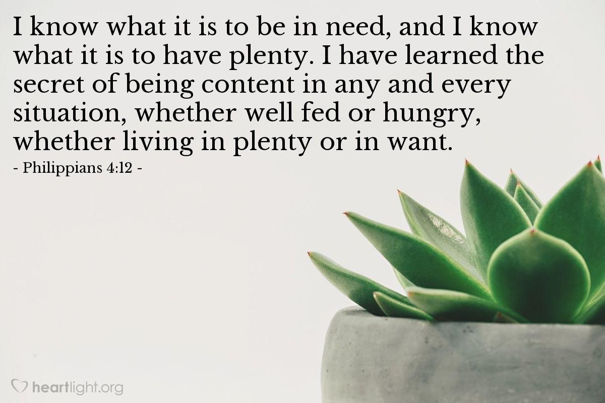 Inspirational illustration of Philippians 4:12