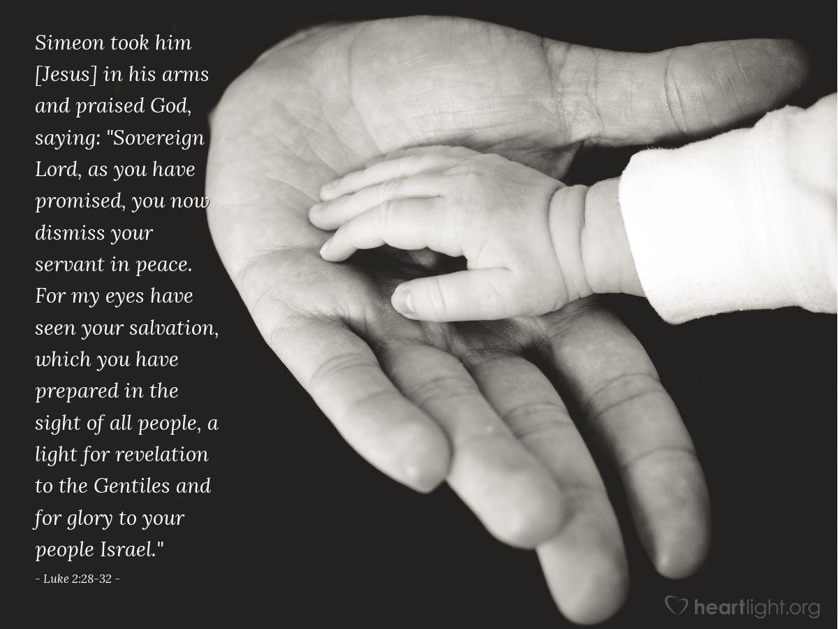 Inspirational illustration of Luke 2:28-32