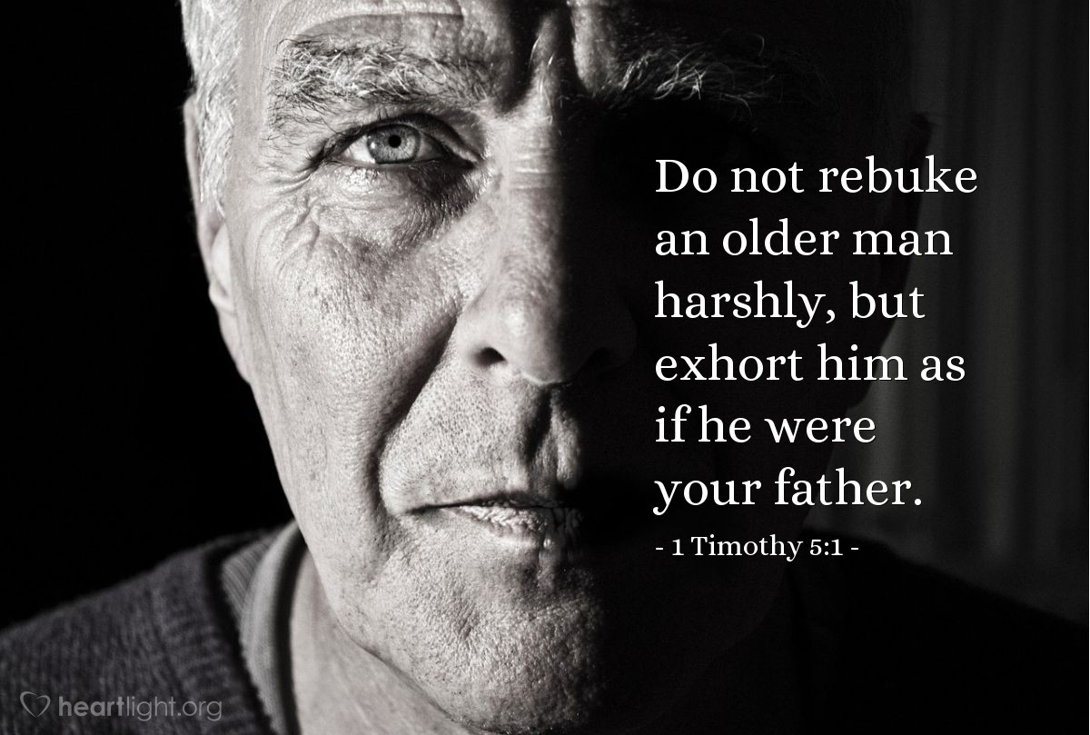 Inspirational illustration of 1 Timothy 5:1