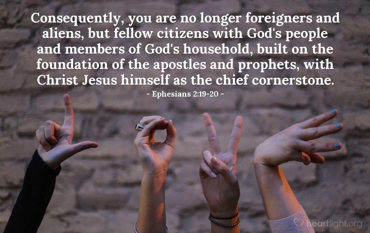 Inspirational illustration of Ephesians 2:19-20
