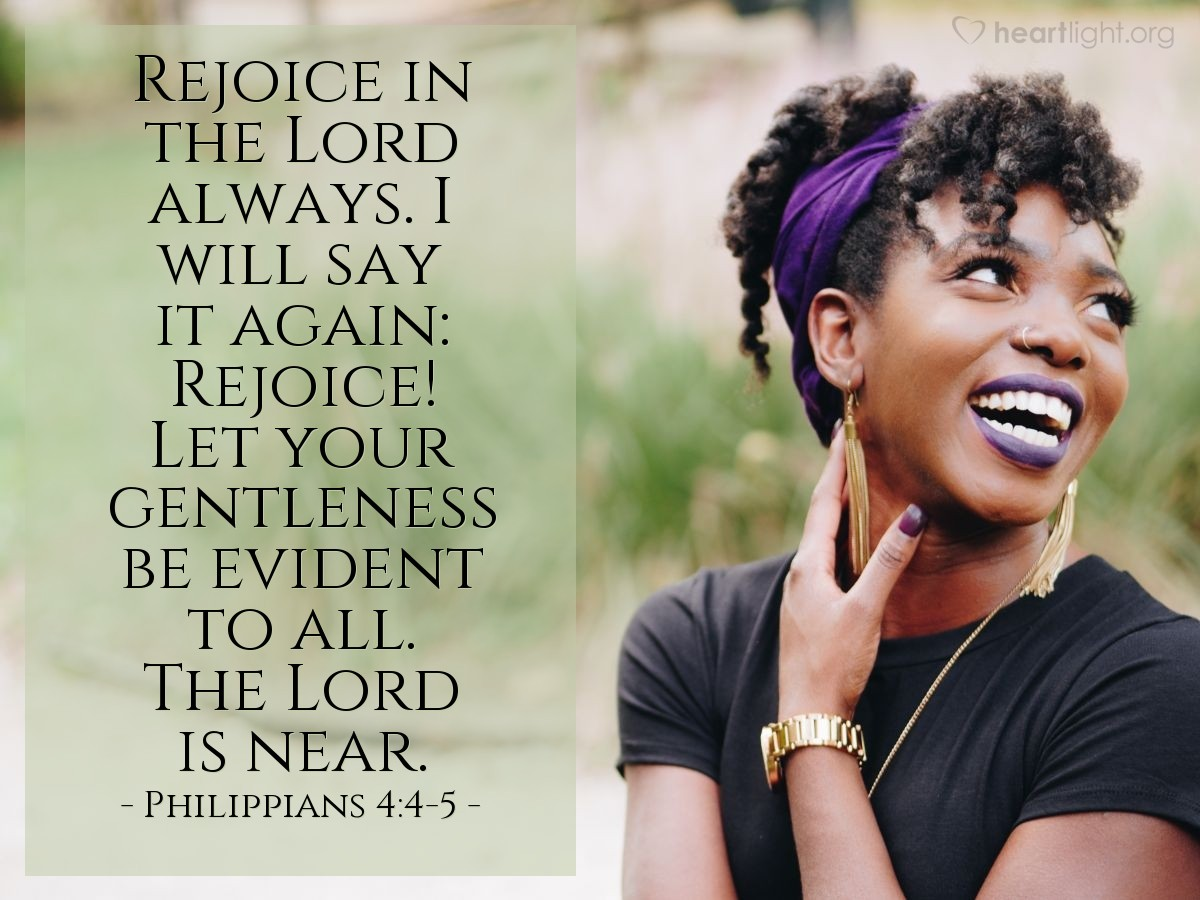 Inspirational illustration of Philippians 4:4-5