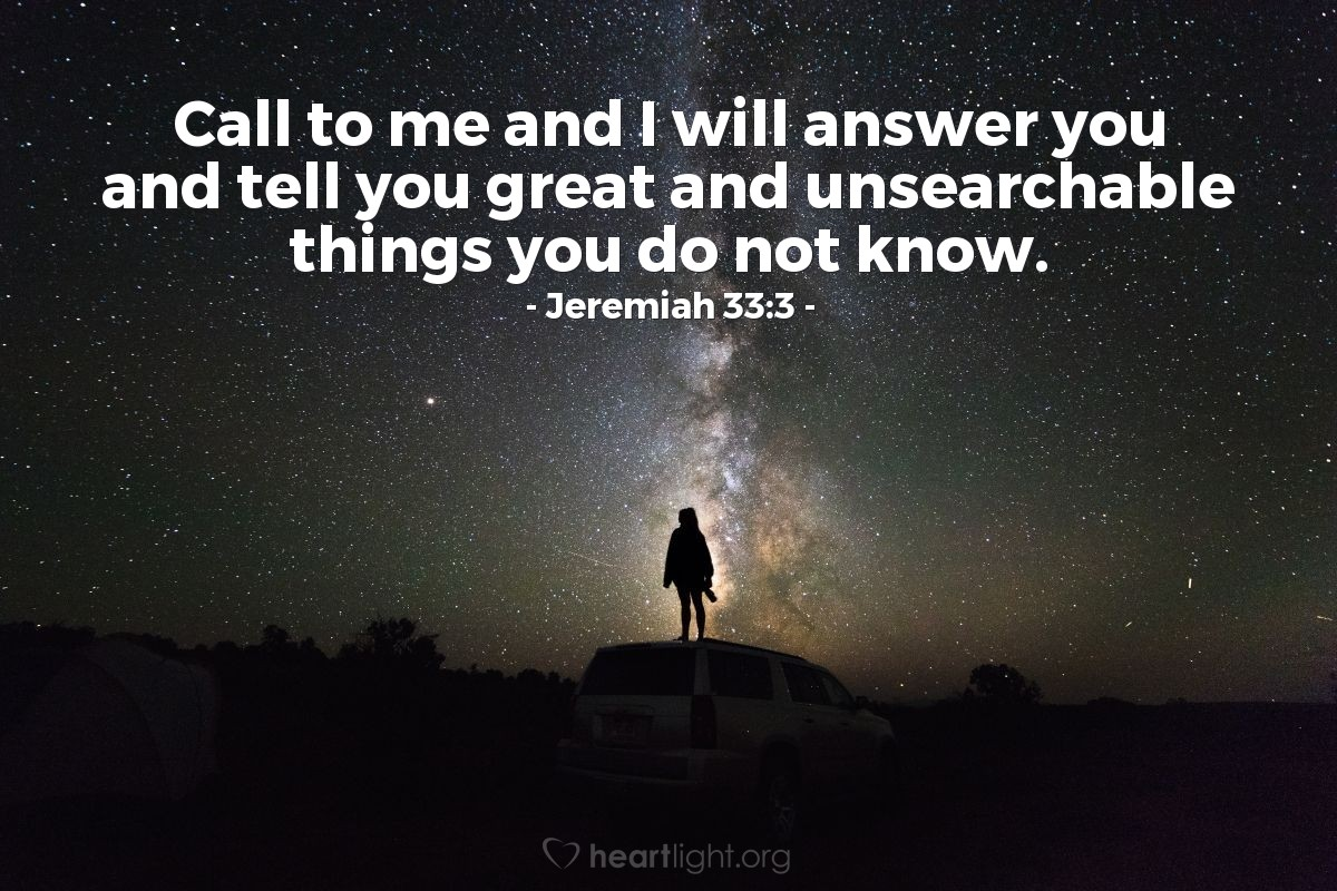 Inspirational illustration of Jeremiah 33:3