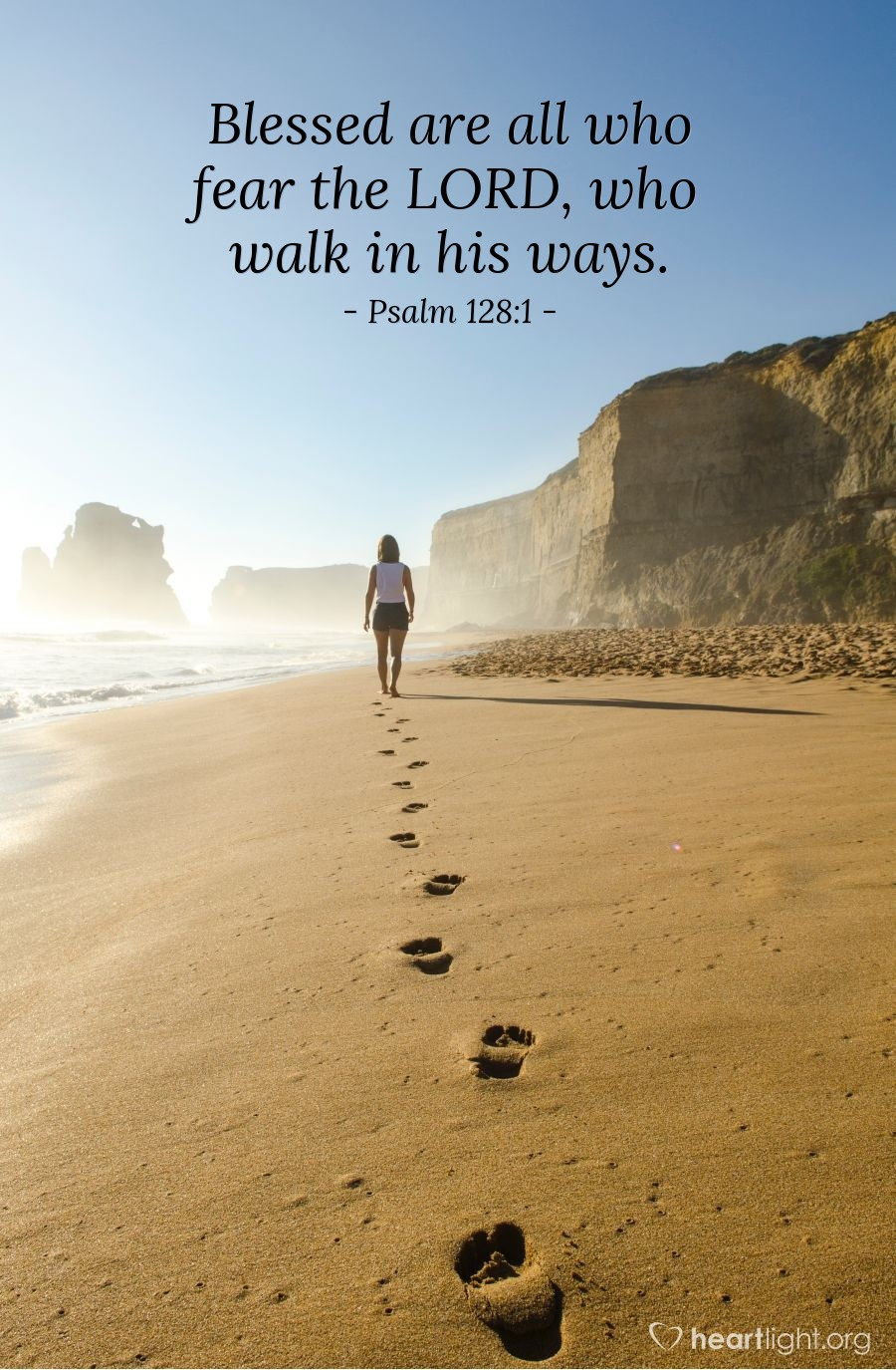 Illustration of Psalm 128:1 — Blessed are all who fear the LORD, who walk in his ways.