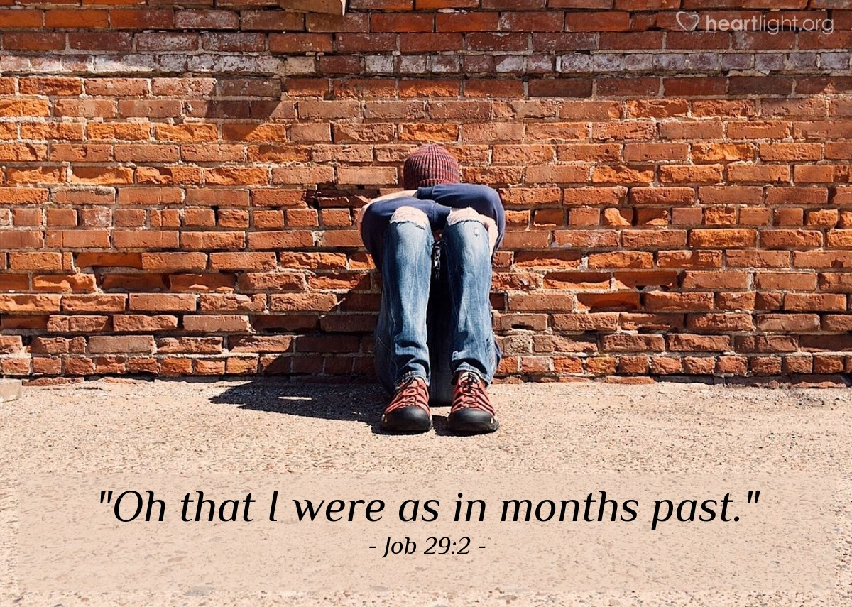 "Illustration of Job 29:2 — ""Oh that I were as in months past."""