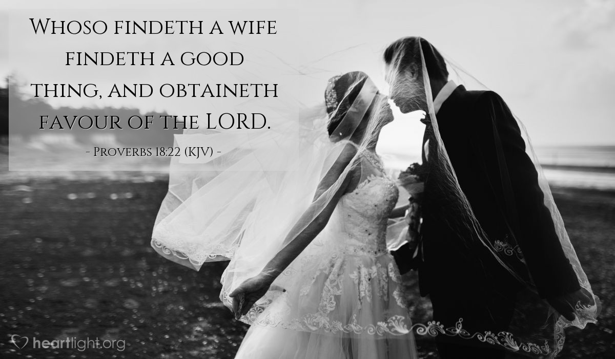 Illustration of Proverbs 18:22 (KJV) — Whoso findeth a wife findeth a good thing, and obtaineth favour of the LORD.