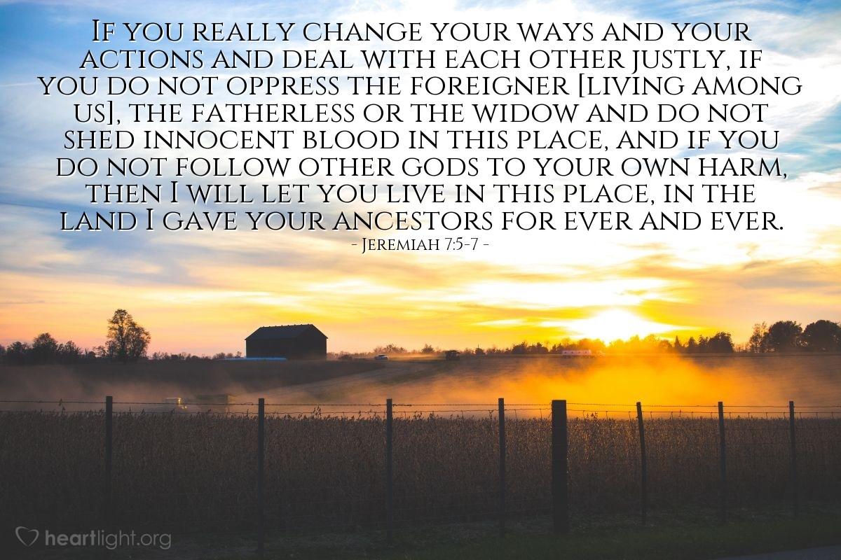 Inspirational illustration of Jeremiah 7:5-7
