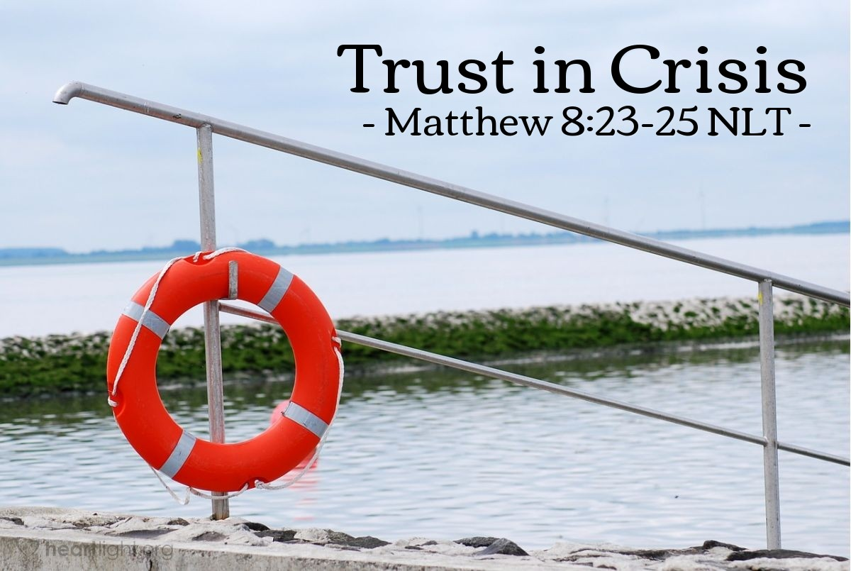 """Illustration of Matthew 8:23-25 — """"Lord, save us! We will drown!"""""""