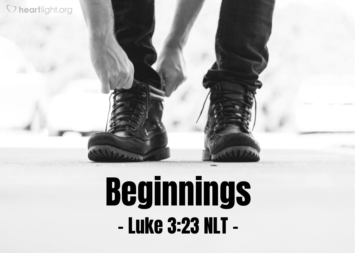 Illustration of Luke 3:23 — When Jesus began to teach, he was about 30 years old. People thought that Jesus was Joseph's son. Joseph was the son of Eli.