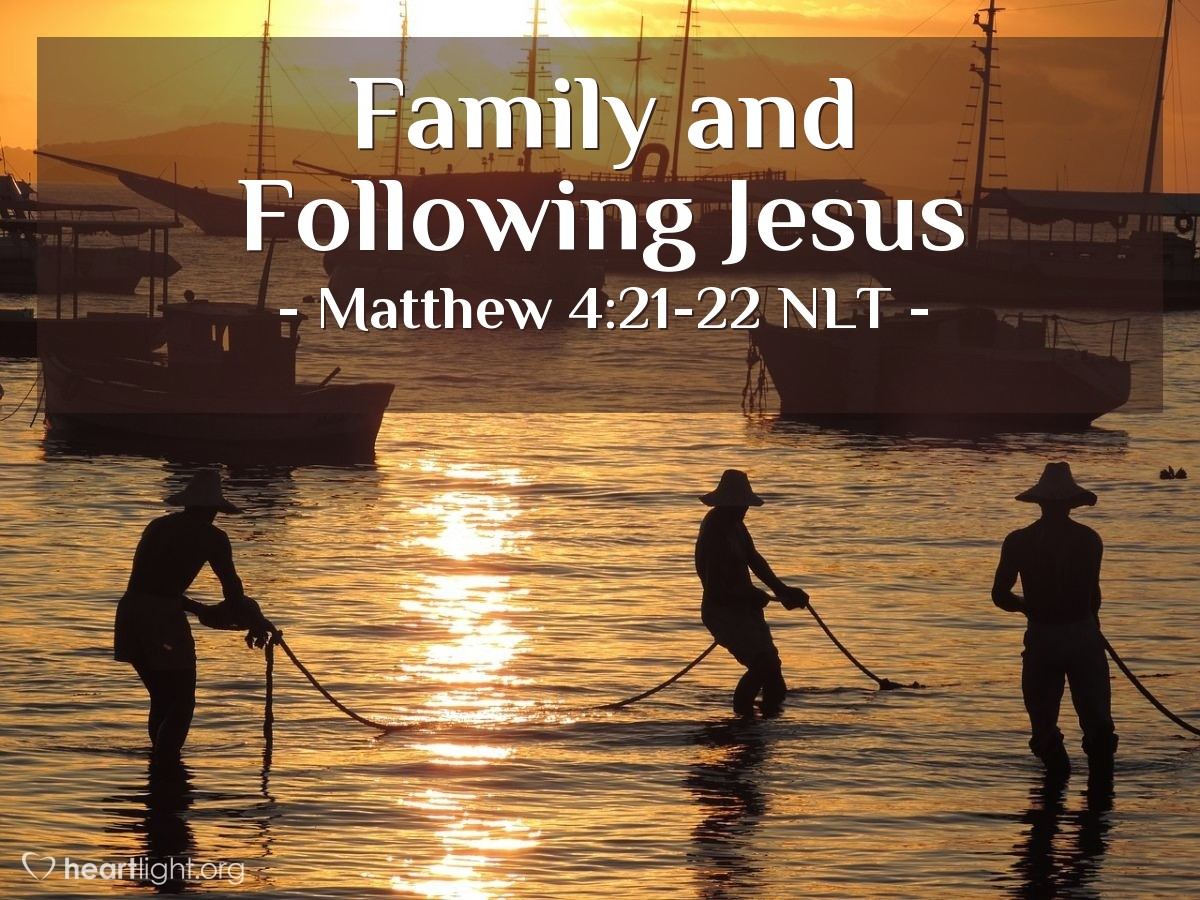 Illustration of Matthew 4:21-22 —  So the brothers left the boat and their father, and they followed Jesus.