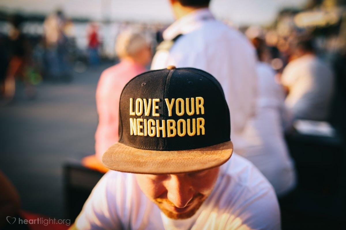"""Illustration of Mark 12:31 — """"The second most important command is this: 'You must love other people the same as you love yourself.' These two commands are the most important."""""""