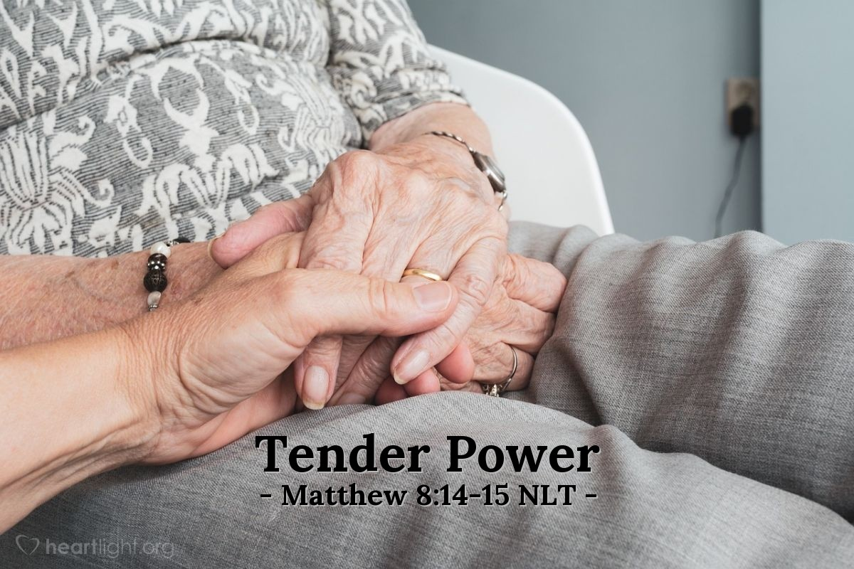 Illustration of Matthew 8:14-15 — Jesus went to Peter's house. There Jesus saw that Peter's mother-in-law was in bed with a high fever. Jesus touched her hand and the fever left her. Then she stood up and began to serve Jesus.