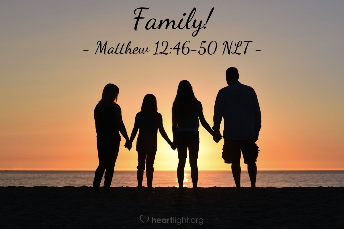 "Illustration of Matthew 12:46-50 — ""See! These people are my mother and my brothers. My true brother and sister and mother is any person that does the things my Father in heaven wants."""