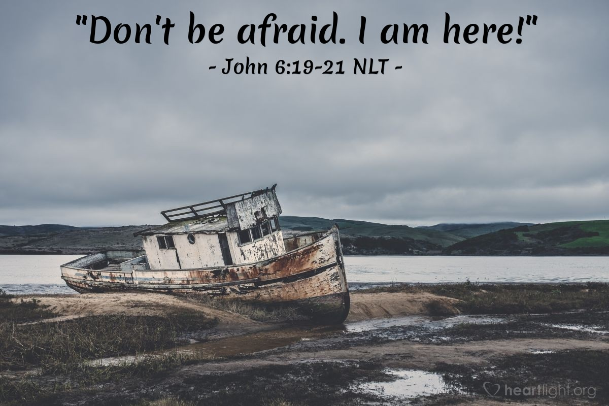 Illustration of John 6:21 — After Jesus said this, the followers were happy to take Jesus into the boat. Then the boat came to land at the place where they wanted to go.