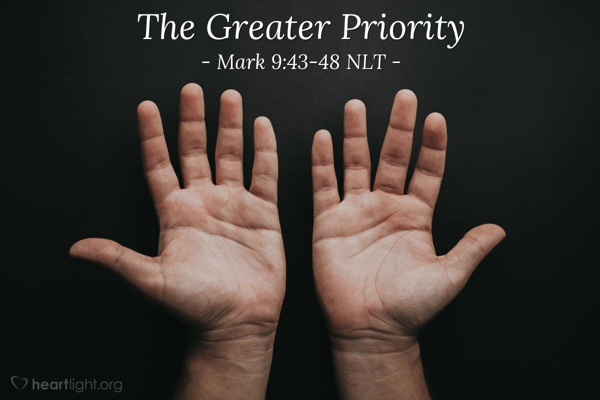 """Illustration of Mark 9:43-48 — """"If your hand makes you sin, cut it off."""""""