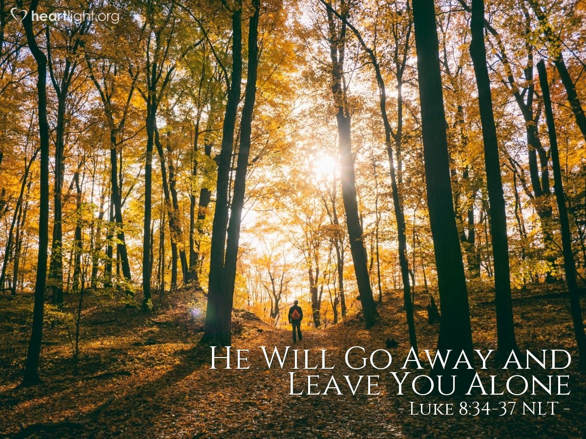 Illustration of Luke 8:34-37 —  All the people asked Jesus to go away.