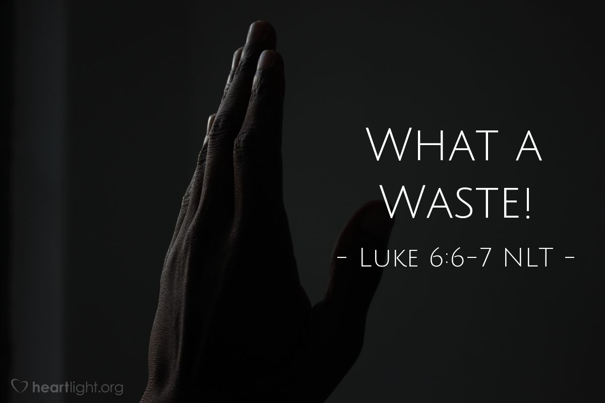 Illustration of Luke 6:6-7 —  They wanted to see Jesus do something wrong so that they could accuse him.