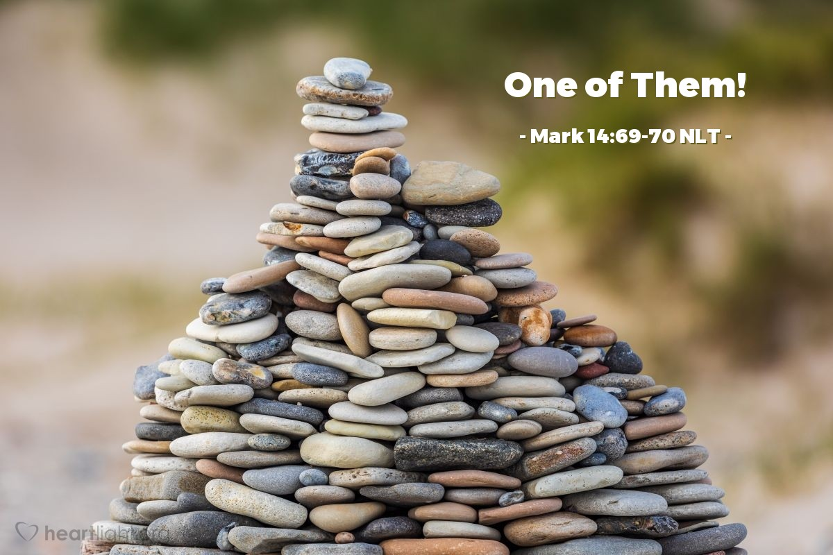 """Illustration of Mark 14:69-70 — """"This man is one of those people that followed Jesus.""""   ——   """"We know you are one of those people that followed Jesus. You are from Galilee, the same as Jesus."""""""